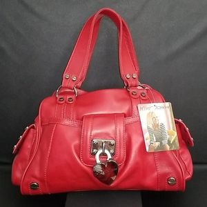 Betsey Johnson LOCK-Y CHARMS RED LEATHER SATCHEL